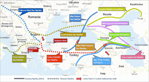 Existing And Planned Oil And Natural Gas Pipelines To Europe